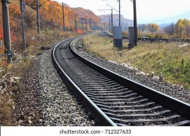 Railroad, autumn scene