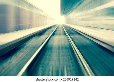 railroad blurred with zoom