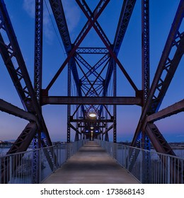 Railroad bridge converted to pedestrian crossing over the Arkansas River in Little Rock, Arkansas