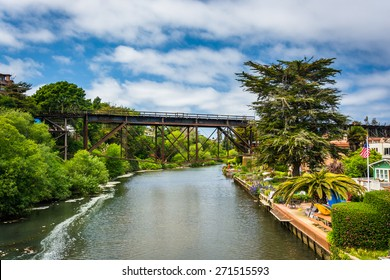 Railroad bridge over Soquel Creek in Capitola, California.