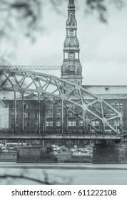 Railroad bridge with panoramic view on city Riga