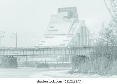Railroad bridge with panoramic view on city Riga