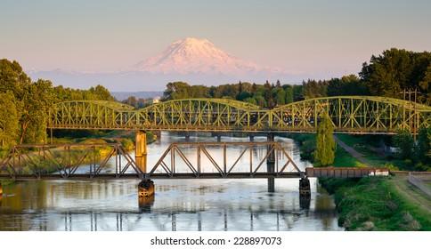 Railroad Car Bridges Puyallup River Mt. Rainier Washington