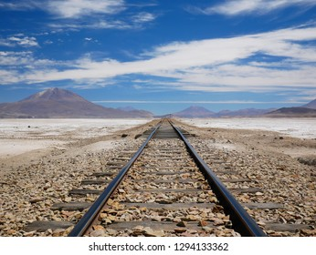Railroad to Chile on the incredible salt flat of the andean altiplano of Bolivia, South America