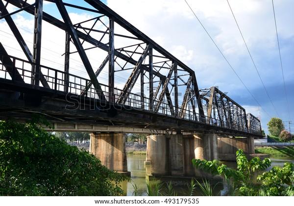 Railroad cross over Mae Klong River in Ratchaburi, Thailand