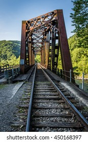 A railroad crosses the New River in Thurmond, WV.