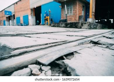 Railroad crossing at a cargo yard