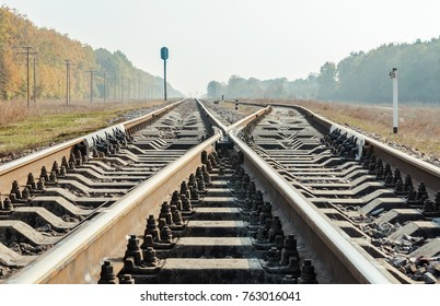railroad crossing closeup low angle