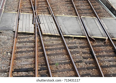 railroad crossing, line of track crossing, top view