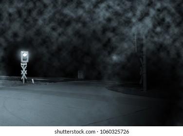 Railroad Crossing Night Stock Photo (Edit Now) 1062612287