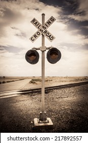 Railroad crossing sign ghost town united states