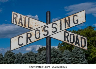 Railroad Crossing Sign (X), Lewistown Junction Train Station, Pennsylvania, USA
