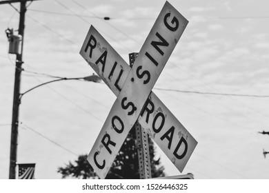 Railroad crossing sign in York County, Pennsylvania.