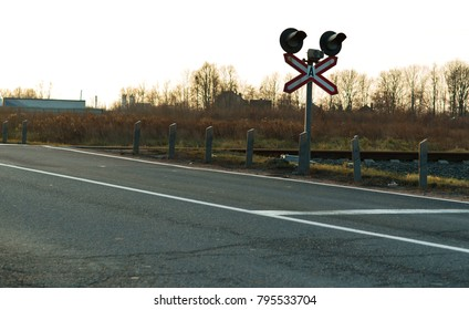 railroad crossing and traffic light, traffic lights at a railway crossing, railway semaphore