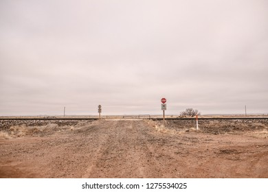 Railroad crossing in the winter West Texas desert