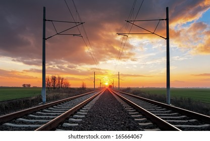 Railroad at a dramatic sunset