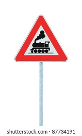 Railroad Level Crossing Sign without barrier or gate ahead the road, beware of train roadside signage, roadsign on pole