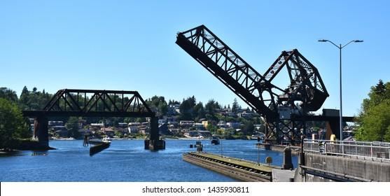 Railroad lifting bridge at Ballard Locks, Seattle, WA, USA