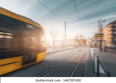 Railroad with motion blur and lighting effect