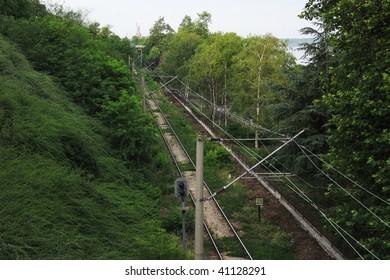 Railroad near Danube River and park alley