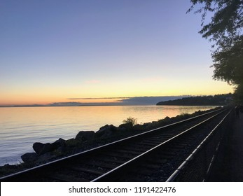Railroad and ocean view in White Rock, BC, Canada