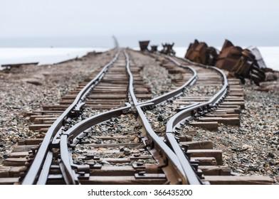 Railroad on salt lake