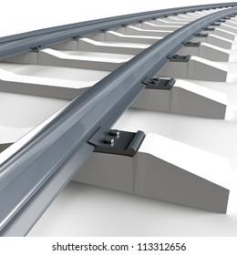 Railroad on white background. 3d render illustration