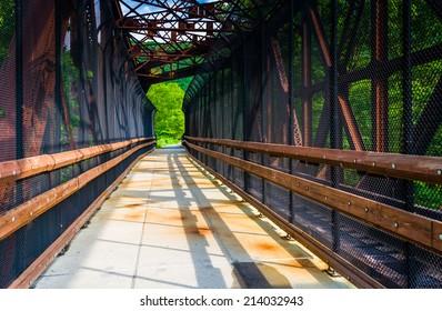 Railroad and pedestrian bridge at Lehigh Gorge State Park, Pennsylvania.