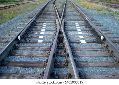 Railroad, rails, fork rail. two ways, two directions.