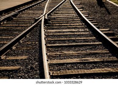 Railroad rails in the sunlight
