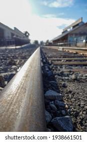Railroad Railway Traintracks Focused On Rails Portrait Photo
