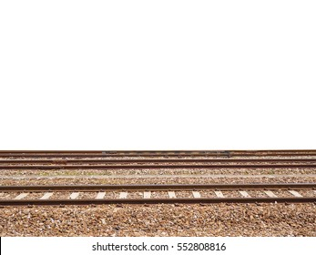 Railroad side view, isolated on white background