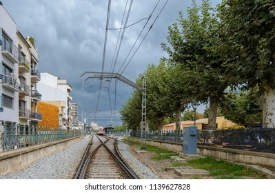 Railroad station. Calella. Barcelona. Spain. 06. September. 2014.  The train is at the railway station of the city of Calella in Spain. A section of the railway near Barcelona.