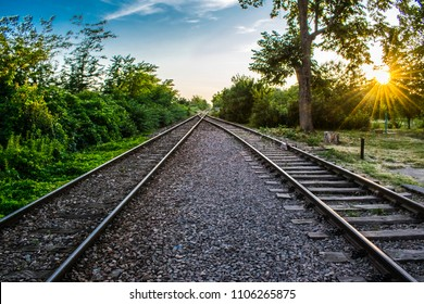 railroad in the sunset