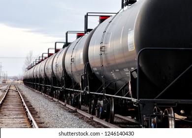 Railroad tank cars waiting on a siding