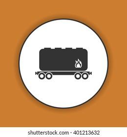 Railroad tank icon. Flat design style