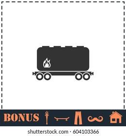 Railroad tank icon flat. Simple illustration symbol and bonus pictogram