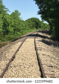 Railroad track curved into wooded oblivion.