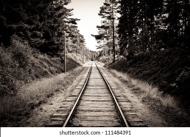 Railroad track sepia