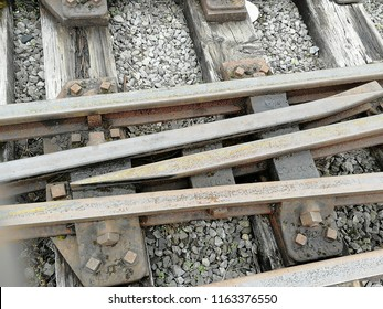 Railroad track at switch.