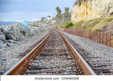 Railroad Tracks along the Pacific Ocean in San Clemente California