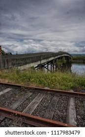 railroad tracks and bridge near Astoria, Oregon