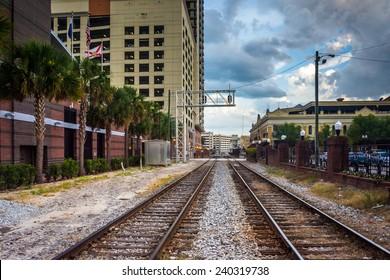 Railroad tracks and buildings in Orlando, Florida.
