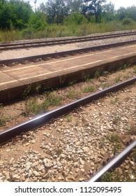 Railroad tracks in daylight