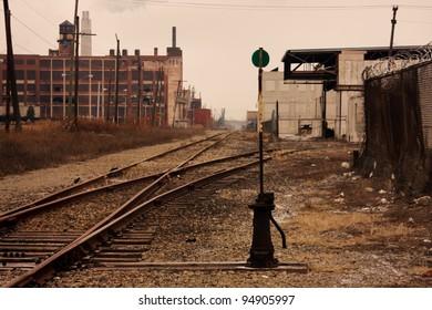 Railroad tracks in Detroit, Michigan