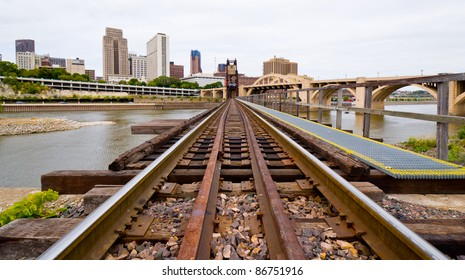 Railroad Tracks Leading Into the Industrial Part of Saint Paul Minnesota