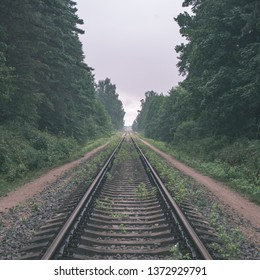 railroad tracks in misty forest with green foliage and perspective - vintage retro look