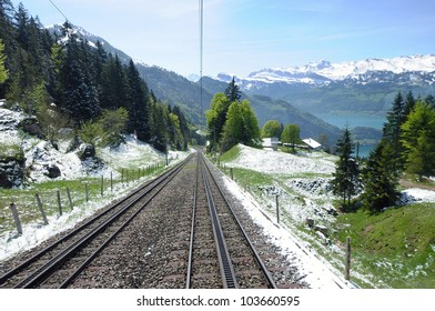Railroad tracks up to the mount Rigi