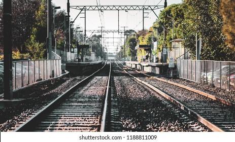 Railroad tracks at Northcote in the city of Melbourne Australia