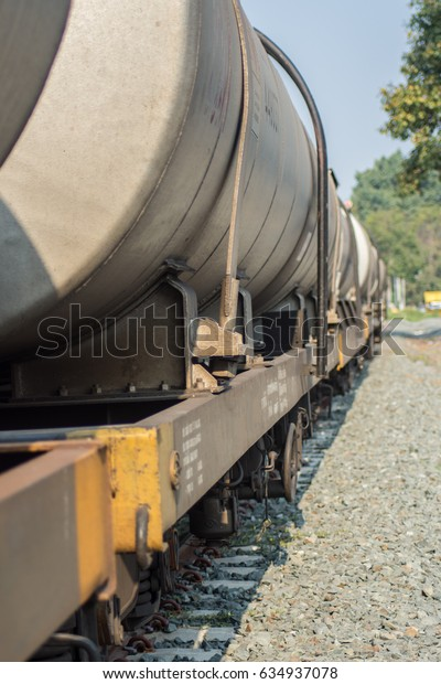Railroad tracks with oil tankers